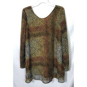 One Teaspoon Cheetah Print Top Sheer Sleeves